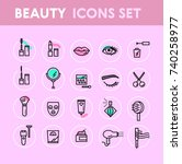 beauty icons set | Shutterstock .eps vector #740258977