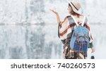 handsome woman standing in... | Shutterstock . vector #740260573