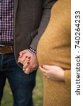 Small photo of Couple expecting baby holding hands with affection and support