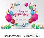 happy anniversary typography... | Shutterstock .eps vector #740268163