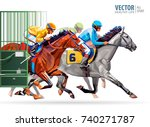 three racing horses competing... | Shutterstock .eps vector #740271787