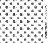 cinema tape  film reel and...   Shutterstock .eps vector #740272897