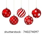 Red Christmas Balls With...