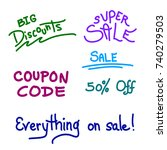 vector set of sale and discount ... | Shutterstock .eps vector #740279503