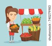 caucasian street seller... | Shutterstock .eps vector #740279983