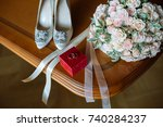 wedding details and items for... | Shutterstock . vector #740284237
