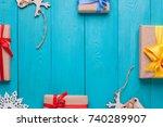 Blue Wooden Planks. Vintage...