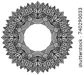 zentangle mandala with pattern... | Shutterstock .eps vector #740290033