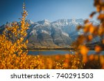 Autumn colors in Jasper National Park, Alberta, Canada. Bokeh of blurred yellow and orange leaves in foreground. Fall vignette. Rocky mountains in background. Blue sky and lake. Picturesque, vivid.