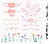 collection of hand drawn lovely ... | Shutterstock .eps vector #740292253