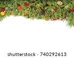 christmas branches frame... | Shutterstock . vector #740292613