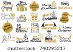 merry christmas. typography set.... | Shutterstock .eps vector #740295217