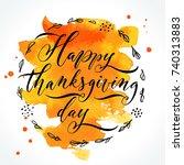 happy thanksgiving day... | Shutterstock .eps vector #740313883