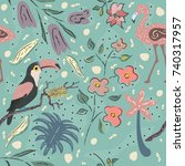 creative summer pattern with... | Shutterstock .eps vector #740317957
