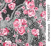 lace floral pattern | Shutterstock .eps vector #740325577