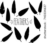 feather hand sketch silhouette | Shutterstock .eps vector #740334637