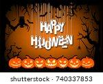 letters happy halloween hanging ... | Shutterstock .eps vector #740337853