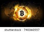 golden bitcoin digital currency ... | Shutterstock .eps vector #740360557