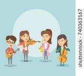 band of caucasian musicians... | Shutterstock .eps vector #740363167