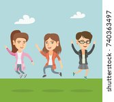 happy group of young caucasian... | Shutterstock .eps vector #740363497