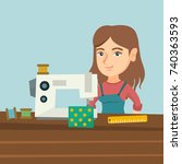 young caucasian seamstress... | Shutterstock .eps vector #740363593