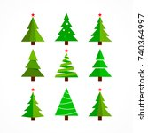christmas tree background set... | Shutterstock . vector #740364997