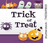 halloween background vector... | Shutterstock .eps vector #740369803