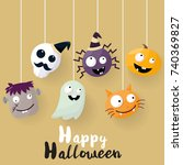 halloween background vector... | Shutterstock .eps vector #740369827