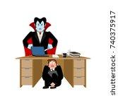 businessman scared under table... | Shutterstock .eps vector #740375917