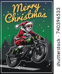 santa claus riding motorcycle...