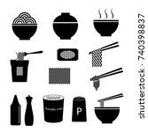 vector of noodle icon set | Shutterstock .eps vector #740398837