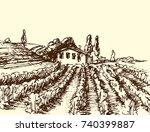 retro landscapes vector... | Shutterstock .eps vector #740399887