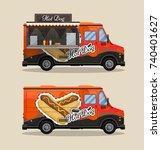 hot dog cart  kiosk on wheels ... | Shutterstock .eps vector #740401627