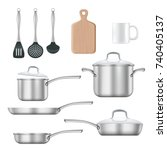 vector set of kitchen utensils. ... | Shutterstock .eps vector #740405137