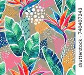 watercolor tropical flowers... | Shutterstock . vector #740407243