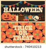 halloween trick or treat set of ...   Shutterstock .eps vector #740410213