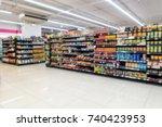 abstract blurred in supermarket ... | Shutterstock . vector #740423953