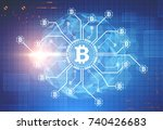 bitcoin network sketch glowing... | Shutterstock . vector #740426683