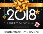 happy new year 2018 greeting... | Shutterstock .eps vector #740427373