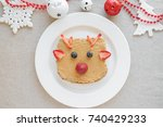 christmas reindeer on peanut... | Shutterstock . vector #740429233