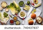 vegan vegetarian hamburger food ... | Shutterstock . vector #740437837