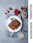 christmas fruit cake  pudding... | Shutterstock . vector #740445733