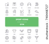 line sport icons set. gym pack. ...