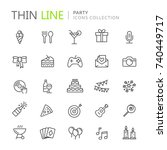 collection of party thin line... | Shutterstock .eps vector #740449717