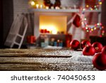xmas time and desk of free... | Shutterstock . vector #740450653
