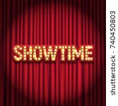 shining retro sign showtime... | Shutterstock .eps vector #740450803