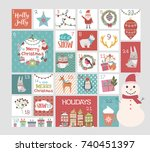 christmas advent calendar.... | Shutterstock .eps vector #740451397