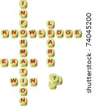World play scrabbling letters spelling educational words , knowledge, information, learn, win and exam illustration
