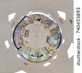 Small photo of Minsk, BELARUS. 12 May 2016: Full 360 degree equirectangula panorama interior bookshop little planet