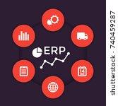 erp software vector icons | Shutterstock .eps vector #740459287